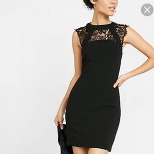 Express black lace dress with lace back